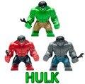 Envío gratis 10 unids decool 0144-46 super heroes vengadores grandes hulk ladrillos de construcción juguetes del bloque compatible con
