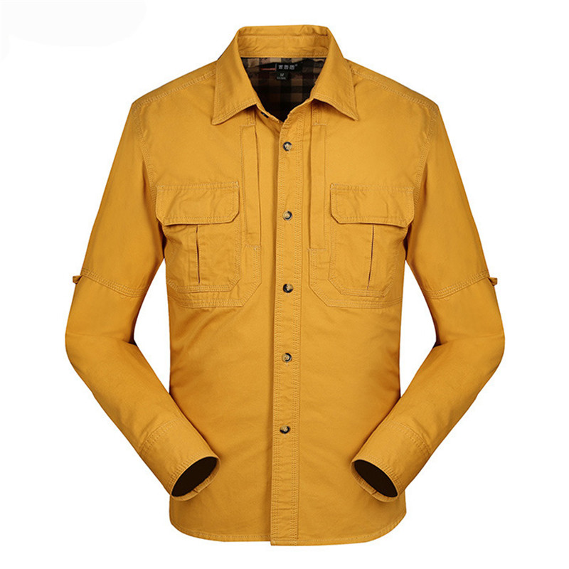 MORUANCLE Men's Casual Cargo Shirts Long Sleeve Tactical Shirt For Male Outerwear Tops 100% Cotton Solid Color Size M-4XL
