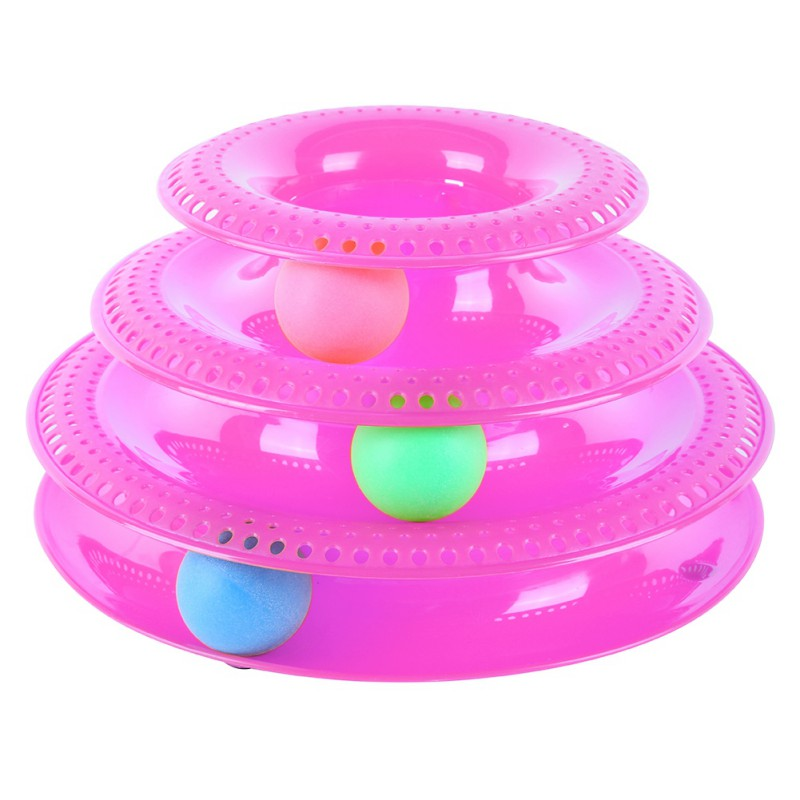 New Pet Intelligence Amusement Three Levels PlasticTower Tracks Disc Cat Pet Toy Rides Shelf Cat Toys Training Amusement Ball