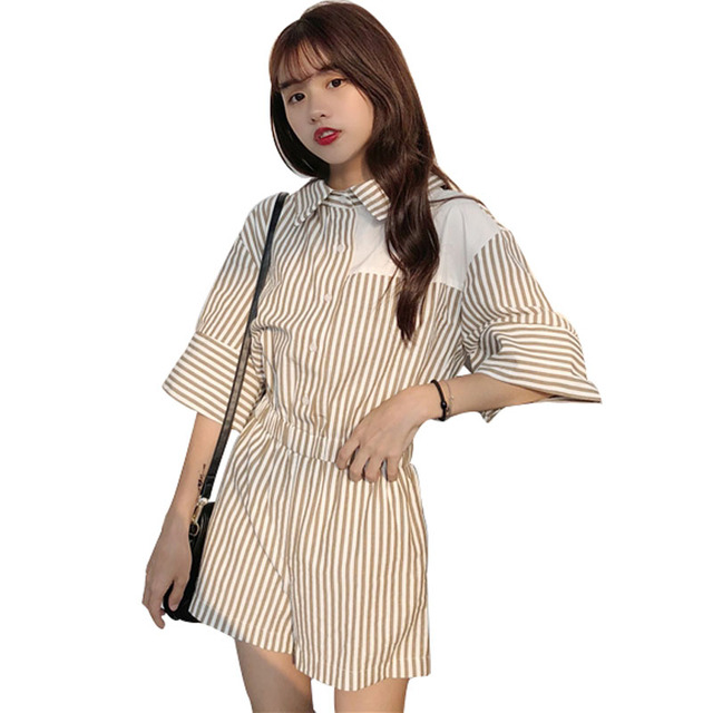1c59f2987d3e Japanese Rompers For Women Off The Shoulder Shirt Collar Striped Short  Sleeves Korean Sexy Cute Summer