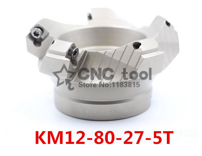 KM12 80 27 5T 45 Degree Shoulder Face Mill Head CNC Milling Cutter milling cutter tools