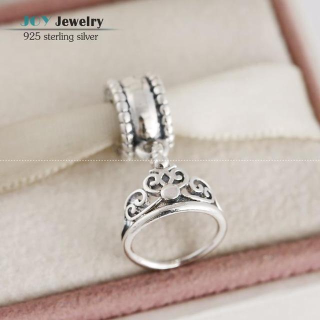 Authentic 925-Sterling-Silver Jasmine's Tiara Dangle Charms Fit European Brand Bracelet Cartoon Princess Crown Pendant For Women