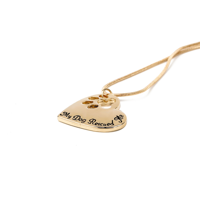 Pet Memorial  Jewelry My Dog Rescued Me Engraved Pet Paw Prints 4