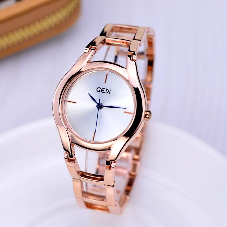 GEDI Fashion Rose Gold jewelry Bracelet Watches Women Top Luxury Brand Ladies Quartz Watch S-Shock Wrist Watch Hodinky kol saati