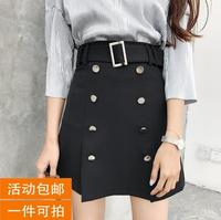 black skirt female summer high waist bag hip skirt double breasted A-line short skirt with buckle belt