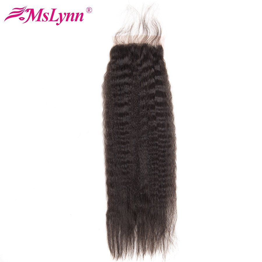 Mslynn Kinky Recto Cierre Brasileño Cierre del pelo con el pelo del bebé 4x4 Cierre del pelo humano Pedazo No Remy Pelo Color natural