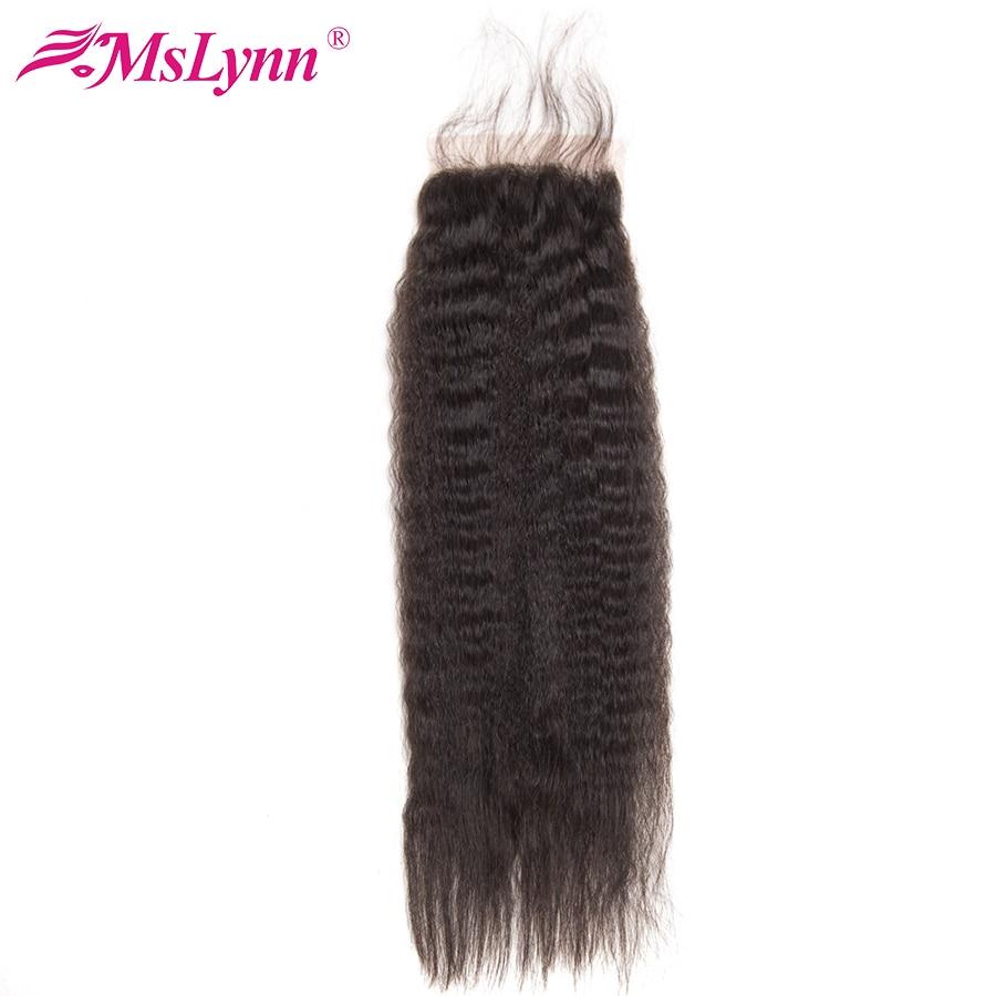 Mslynn Kinky Straight Closure 아기 머리카락으로 브라질 머리카폐 4x4 인간의 머리카폐 폐쇄 비 머리카락 자연 색상