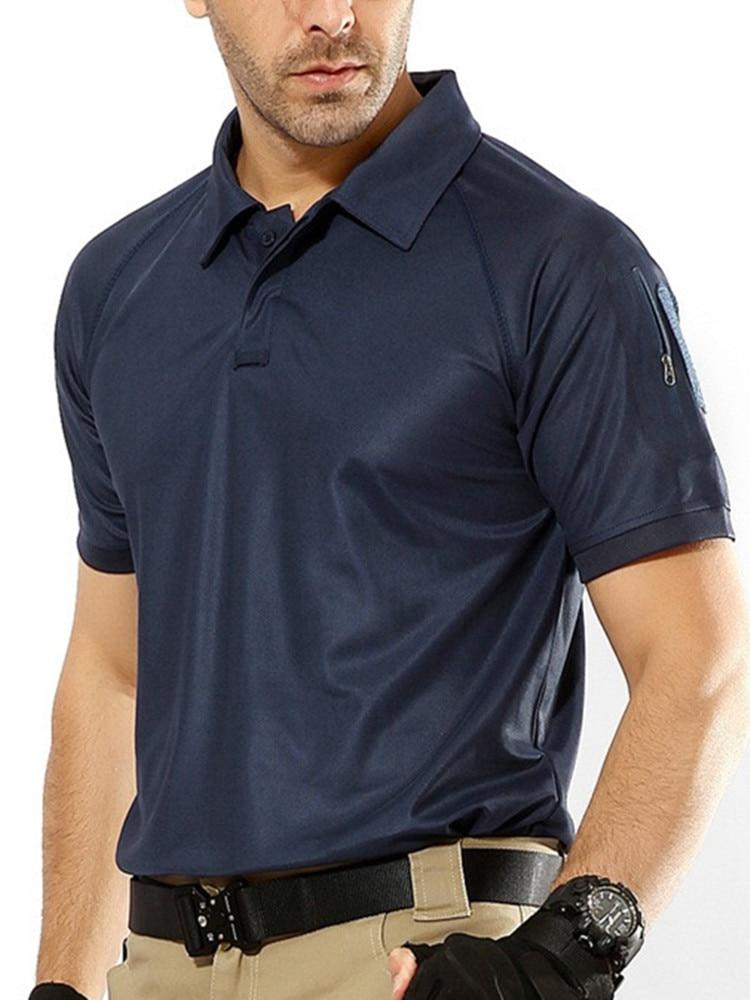 aa85901a5 Homens de Verão de Secagem rápida Camisa Pólo Respirável Polo Tático de  Combate Do Exército Militar Masculino Azul Marinho de Manga Curta Camisas  Pólo ...