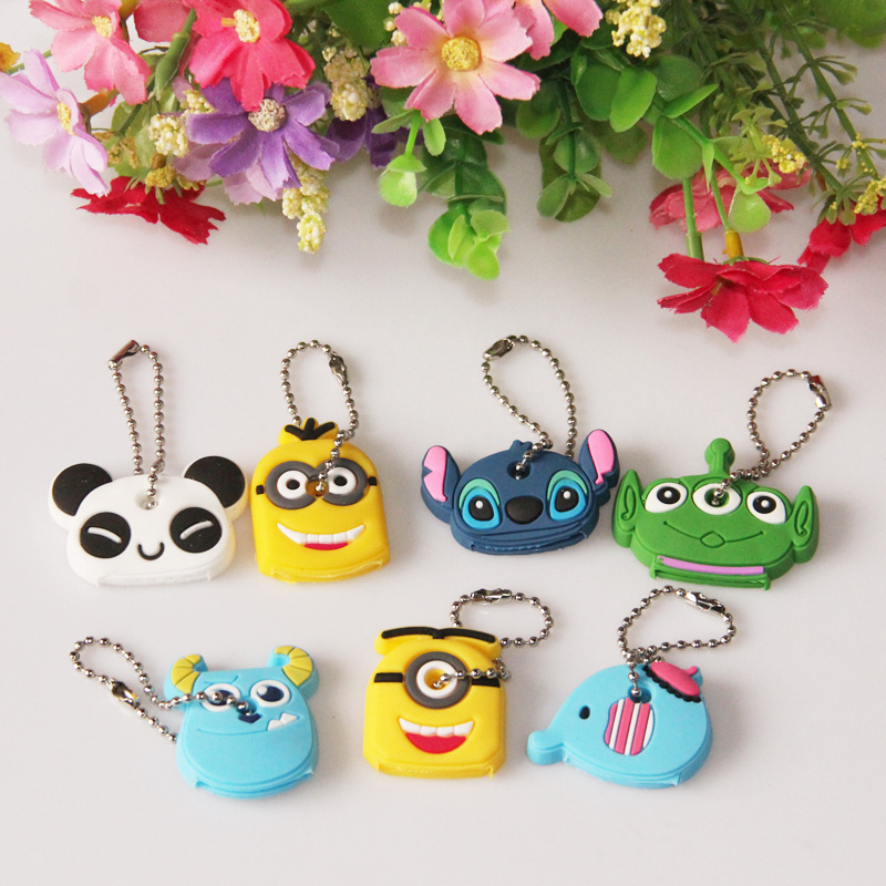 Car Styling High quality Kawaii Cartoon Animal Silicone Key Caps Covers Keys Keychain Case Shell font