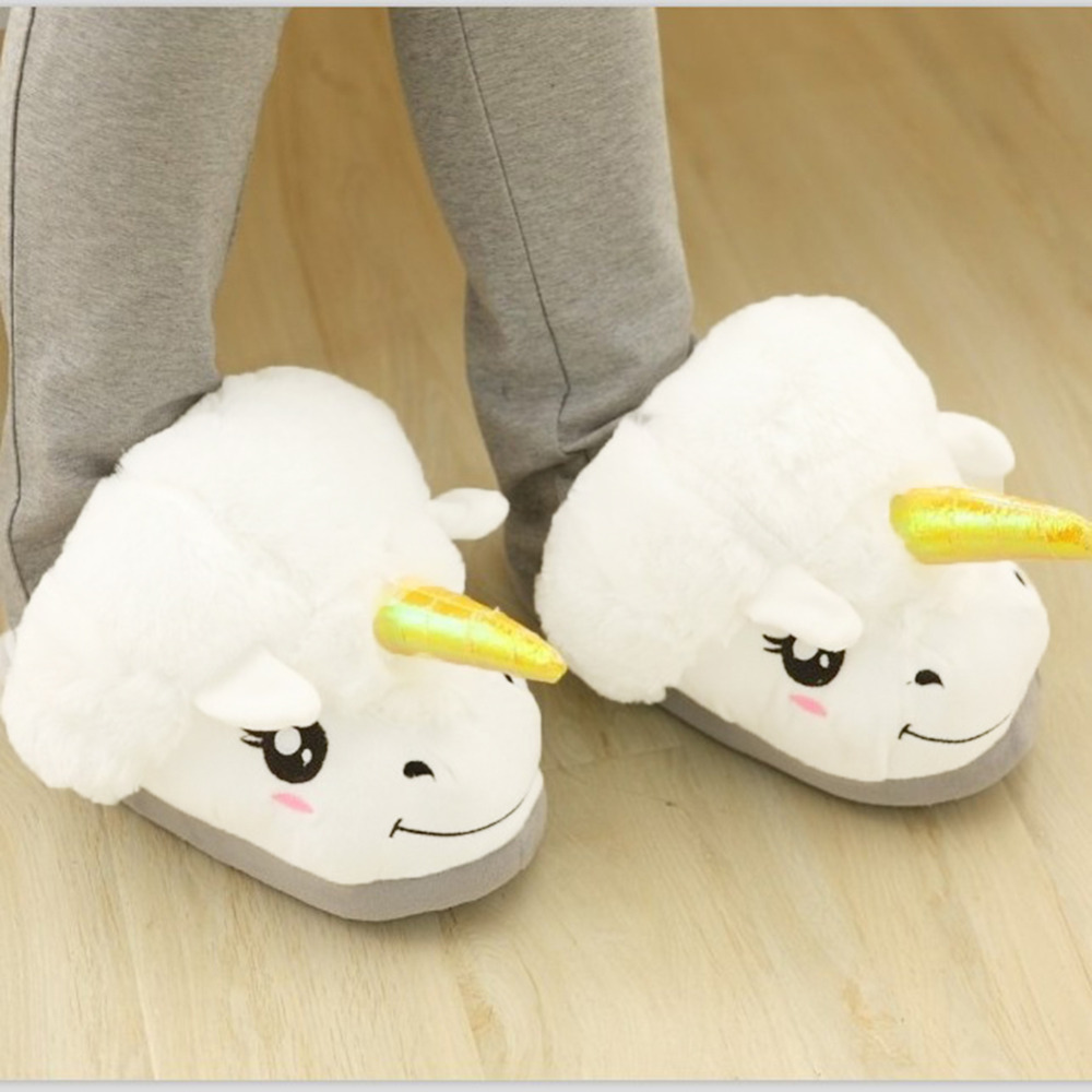 New Women Shoes Female Slippers For Home Use Fantasy White Unicorn Plush Cotton Slipper Slip On Adult Size House Indoor Slippers soft house coral plush slippers shoes white