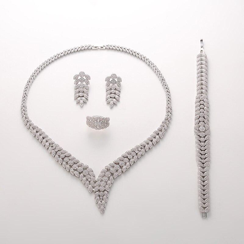 Hadiyana2018 luksusowe Bridal zaręczyny biżuteria ślubna zestaw błyszczące naszyjnik cyrkoniowy kolczyki bransoletka pierścień zestawy dla kobiet TZ8088 w Zestawy biżuterii od Biżuteria i akcesoria na  Grupa 2