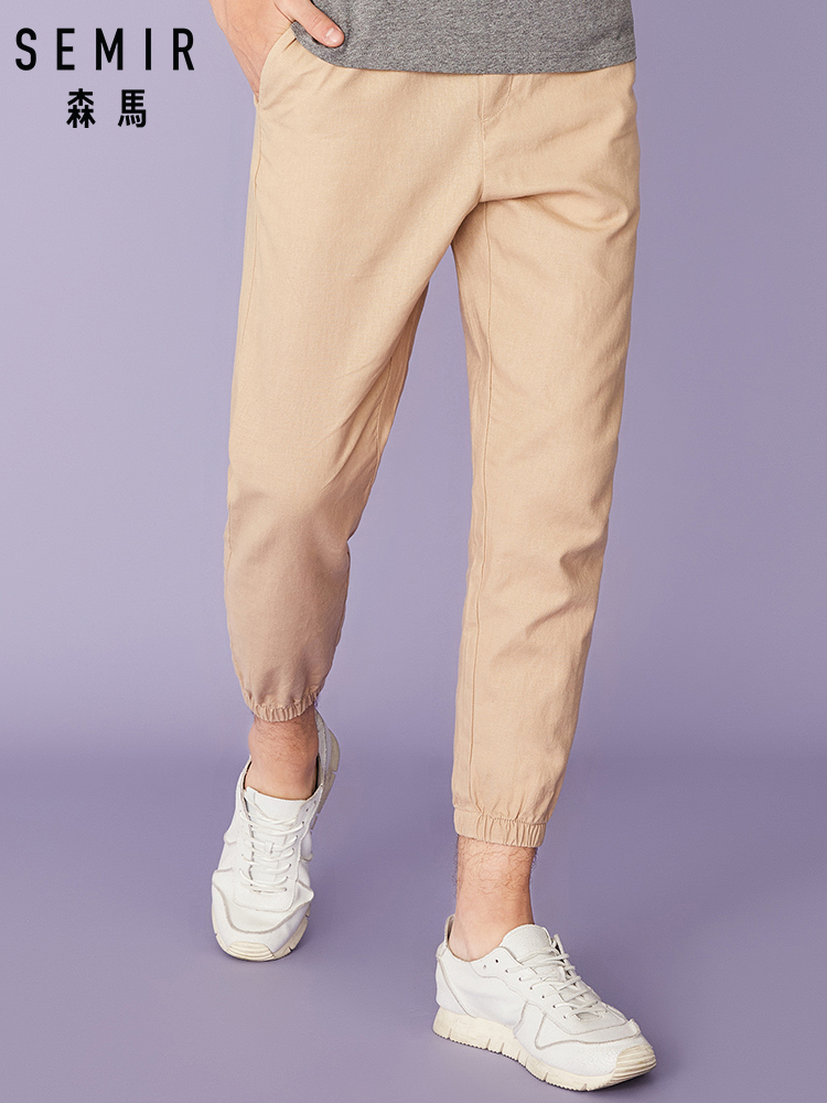 SEMIR 2019 Summer New Casual Pants Men Cotton Linen Slim Fit Fashion Trousers Male Brand Clothing Plus Size