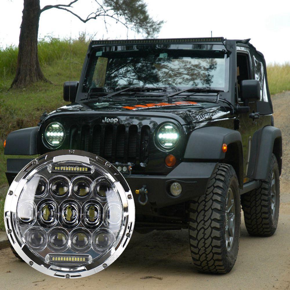 7 polegadas redondas 75 w auto led farol carro condução luz 12/24 v led wrangler faróis com drl para jeep jk fora do carro da estrada led