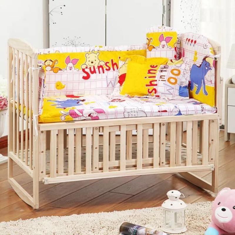 baru 5 pcs / set katil bayi yang ditetapkan kapas tirai bayi bumper kapas set katil katil bayi menetapkan katil di sekitar bumper