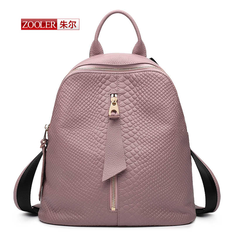 ФОТО ZOOLER Backpack Famous BrandsCrocodile Pattern Backpack Genuine Leather First Layer Cowhide Women Preppy Style Backpack#YL-3903