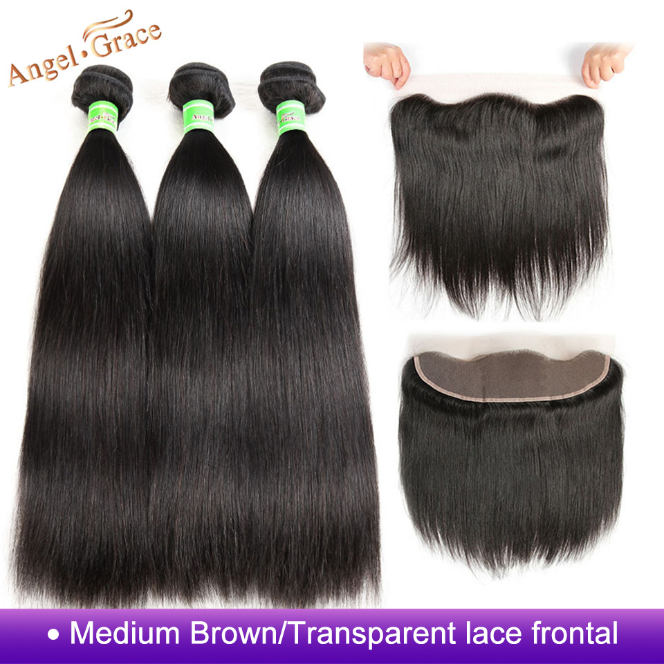 Angel Grace Hair Brazilian Straight Hair 3 Bundles With Brown Transparent Lace Frontal Remy Human Hair