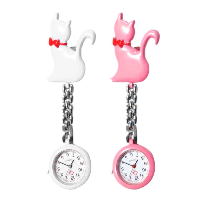 New Quartz Watch Cat Cartoon Fashion Pocket Watches Hang Clip Doctor Women Lady Jewelry Charm Silver Pendant Cute Chest Hanging