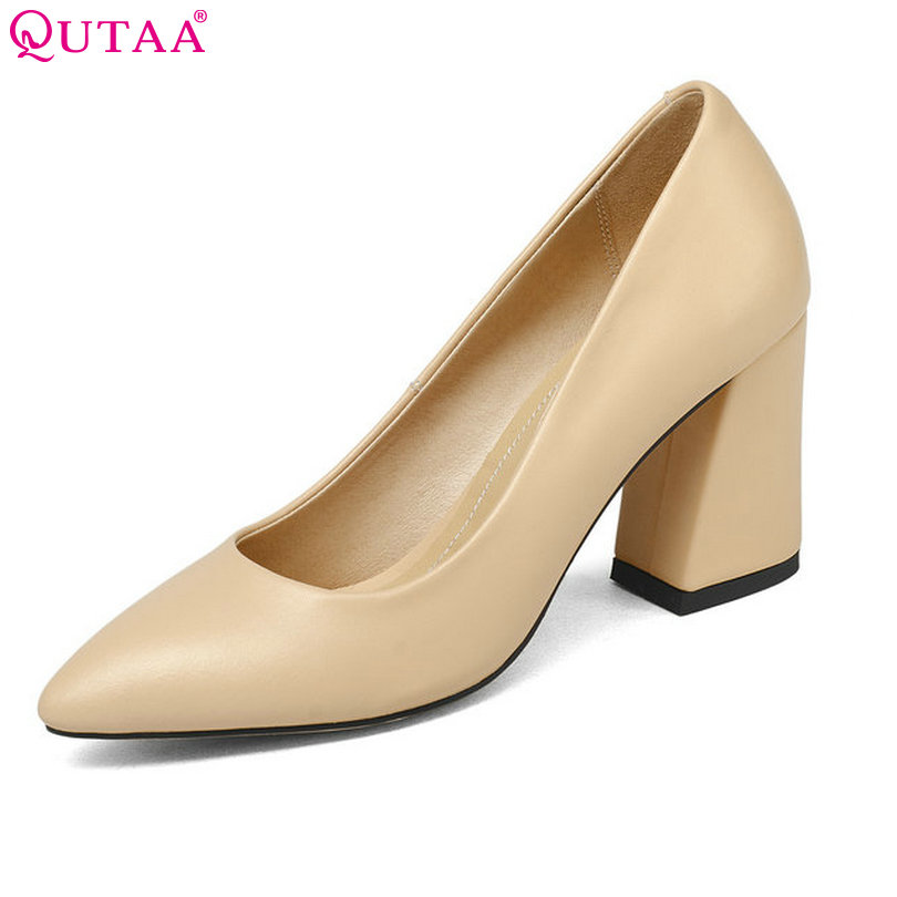 QUTAA 2018 Shoes Women Summer Square High Heel Women Pumps PU leather Pointed Toe Black Ladies Wedding Woman Shoes Size 34-43 new 2017 spring summer women shoes pointed toe high quality brand fashion womens flats ladies plus size 41 sweet flock t179