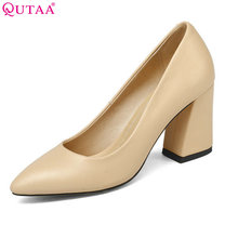 QUTAA 2018 Shoes Women Summer Square High Heel Women Pumps PU leather Pointed Toe Black Ladies Wedding Woman Shoes Size 34-43(China)
