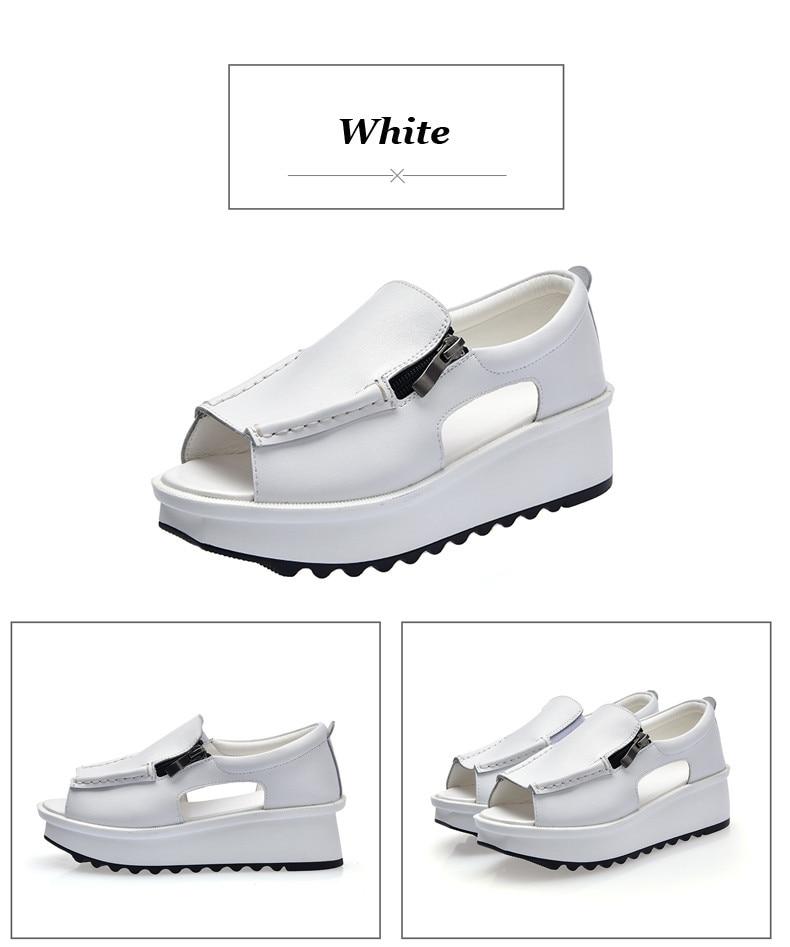 2019 Fashion Summer Women Sandals Wedges Sandals Ladies Open Toe Round Toe Zipper Silver White Platform Sandals Shoes (3)