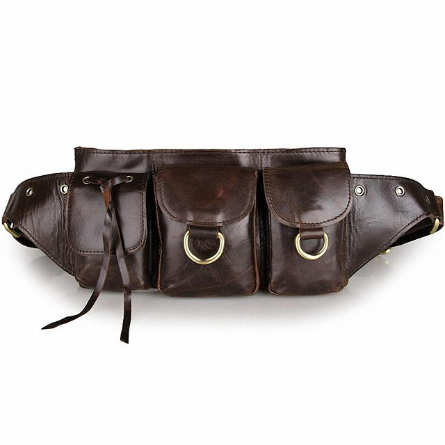 2016 Vintage Genuine Leather Bags Waist Packs For Men Belt Waist Bags For Men Casual Fashion Brand Business Bag LI-1447
