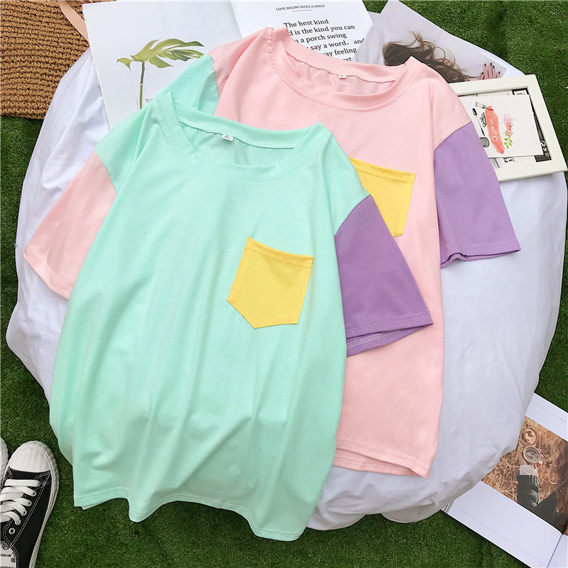 Women Tops Summer Harajuku Korean Style Patchwork Contrast Color Pastel T Shirts Bangtan Boys Kpop Tee Shirt Friends Streetwear