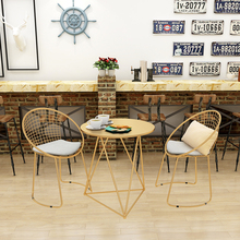 dining living room furniture set 1 table Metal steel Leisure Chair iron wire chair hollow back gold dining Coffee Metal Bar chairs Set Tea Table Living Room Furniture