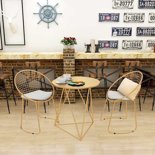 Gold Dining Chairs Stairway Chair Lifts Reviews Metal Steel Leisure Iron Wire Hollow Back Coffee Bar Set