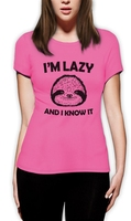 Tee4U Tailored Shirts Women S Short Funny Crew Neck I M Lazy And I Know It