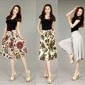 New arrival fashion high quality women plus size Capris Pants high waist Flower Cotton Linen Loose Casual Wide Leg Pants