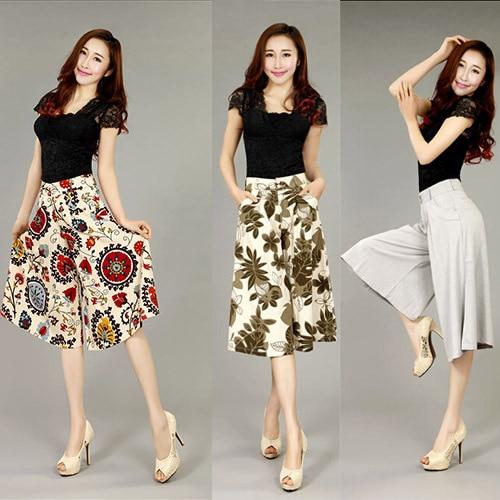 ZYFPGS 2018 New arrival fashion women plus size Capris Pants high waist  Flower Cotton Linen Loose 51385e912652
