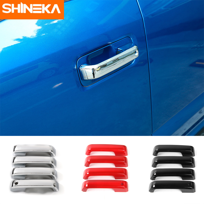 SHINEKA Sticker Cover ABS with Smart-Keyhole for Trims Door-Handle F150 B-Style