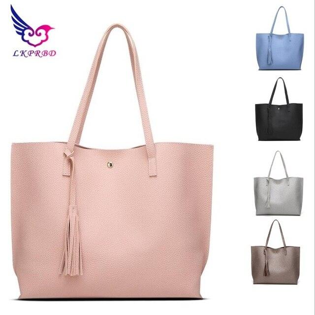 f8ffdca73f 2017 LKPRBD brand 7 colors bag Luxury Tassel Pendant Design Women Leather  Shoulder bags Large Tote