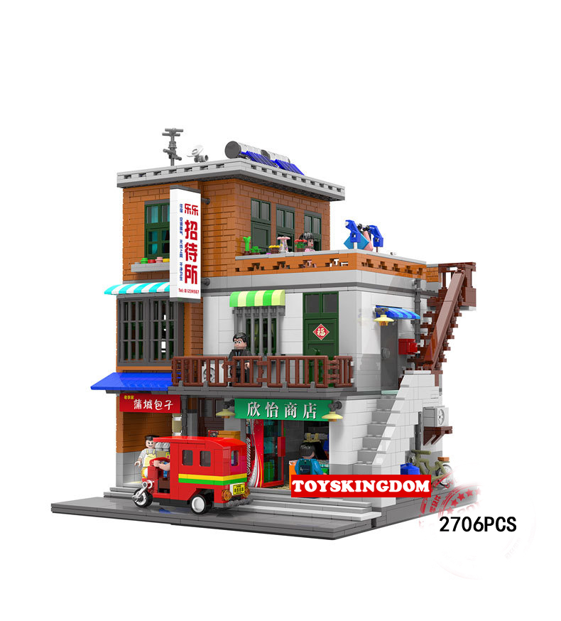 Hot Village in the Chinese city China steet view moc building block Guesthouse shop figures tricycle brick toys collection