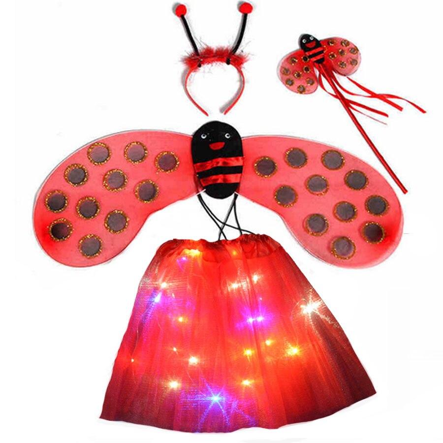 10set Girl Children Bee Ladybird Cosplay costume Headband Wands LED Light Tutu Skirt Party Birthday Gift