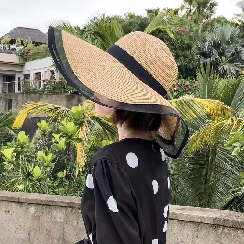 2019 New Sun Hats For Women Girls Wide Brim Floppy Straw Hat Summer Bohemia Beach Cap Ribbon Chapeau Femme Ete Black
