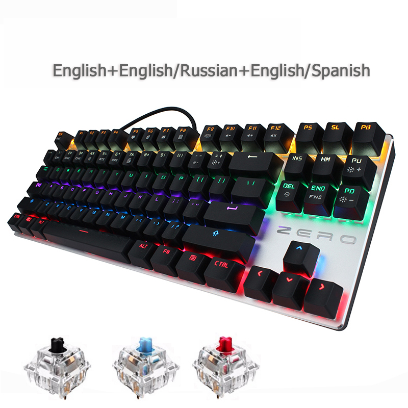 цена на Metoo gaming Mechanical Keyboard 87/104 key Anti-ghosting Luminous usb Wired keyboard blue/red/black switch LED Backlit Keyboard