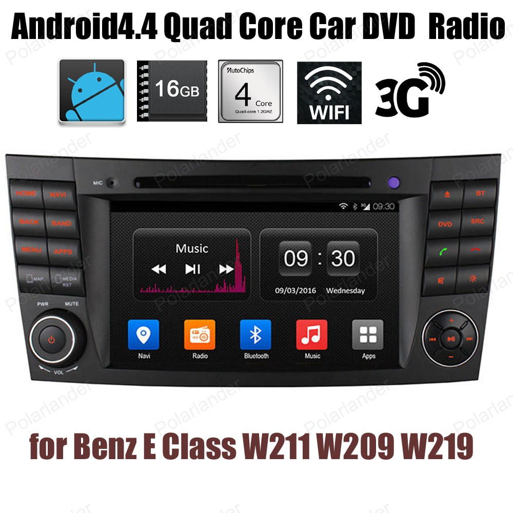 Android4.4 voiture DVD 1024*600 Quad Core radio Support GPS BT 3G WiFi DTV DAB + TPMS pour B/enz E C/indeau W211 W209 W219