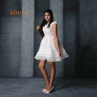 abule Short evening Dresses Summer For Women 3D Floral Appliques Beads prom dress White Organza Sheer a line Back Off Shoulder