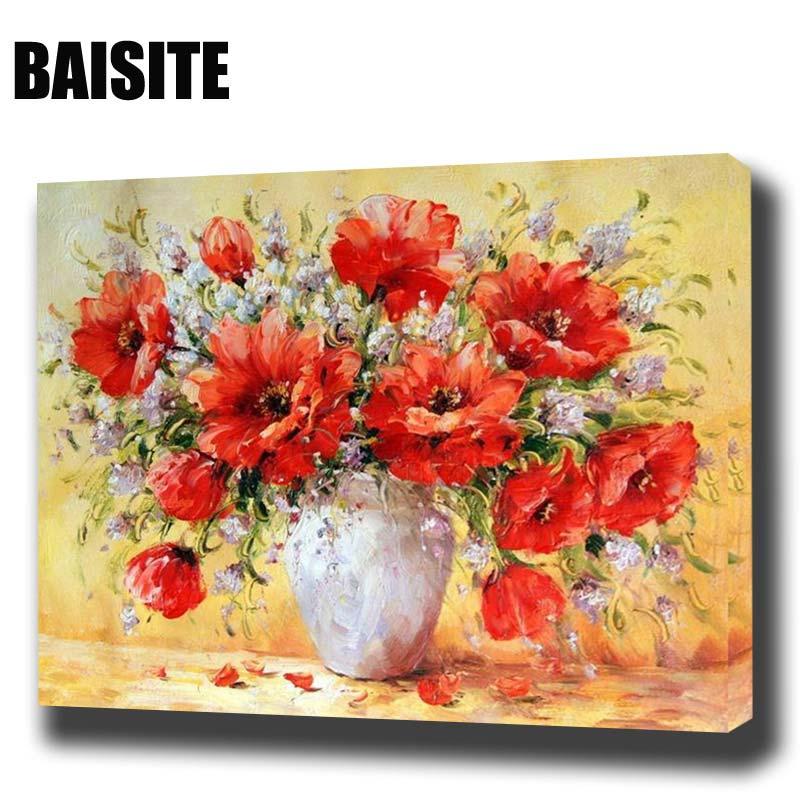 BAISITE DIY Gerahmte Ölgemälde Durch Zahlen Blumen Bilder Leinwand ...