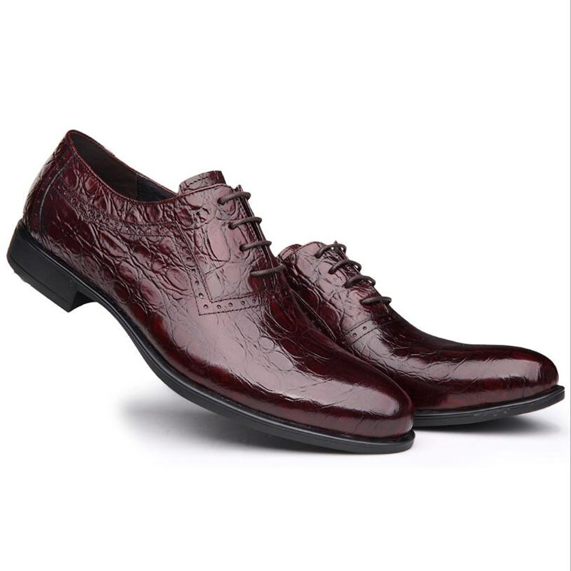 ФОТО High Quality Men Flats Shoes Crocodile Genuine Leather Black Oxford Wedding Dress Derby Shoes Leather Luxury Brand Casual Shoes