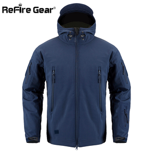 Image 2 - Refireギア紺ソフトシェルミリタリージャケット男性防水軍の戦術的なジャケットコート冬暖かいフリースフード付きウインドブレーカー