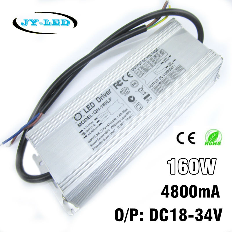 160W LED Driver 4800mA DC18-34v Power Supply IP67 Waterproof Constant Current FloodLight Driver For High Power LED Beads 90w led driver dc40v 2 7a high power led driver for flood light street light ip65 constant current drive power supply