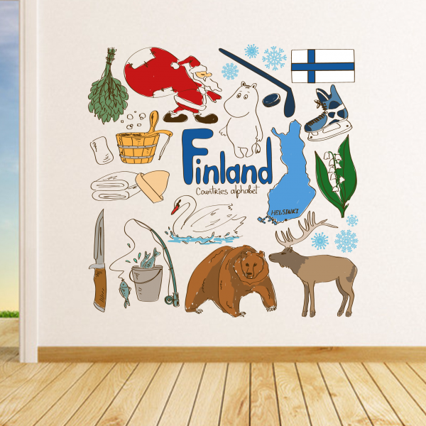 Finland Colorful Illustration Travel The Word Landmark Wall Sticker Wedding Decor Vinyl Waterproof Wallpaper