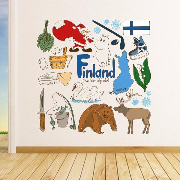 Finlanda Colorful Ilustrație Călătorie Cuvânt de reper Sticker de - Decoratiune interioara