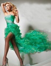free shipping 2014 new fashion hot scalloped short front long back dress to party evening gown sexy beading crustal prom dresses недорго, оригинальная цена