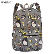 Lovely Totoro Printing Canvas Backpack Korean Styles of School Bags Free Shipping -B