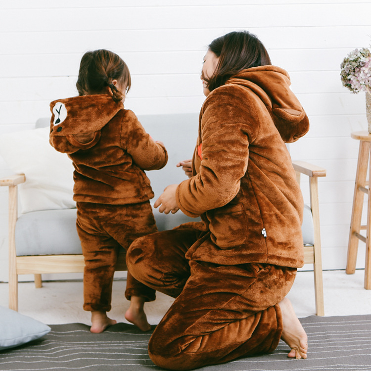 Children Winter Pyjamas Family Matching Christmas Pajamas Mama Baby Bear Clothes Add Cotton Mom Baby Sleepwear Family Look Sets family christmas pajamas set striped pyjamas set family look matching family christmas pajamas navidad family matching clothes