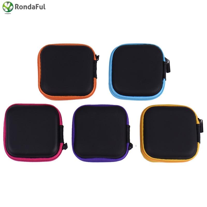 Mini portátil con cremallera Cubierta dura para auriculares Bolsa de auriculares de cuero PU Organizador de cable USB protector Caja de bolsa de auriculares portátiles