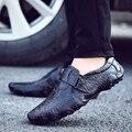 Hecho a mano Los Hombres del Cuero Genuino Pisos Casual Luxury Brand Hombres Holgazanes Cómodos Suaves de Conducción Zapatos Mocasines Slip On de Cuero